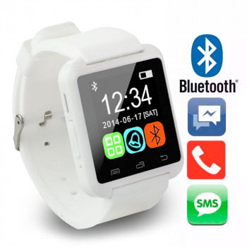 Reloj Inteligente U8 Smartwatch Tactil, Android, IOS, Bluetooth, Bateria Reforzada, Blanco